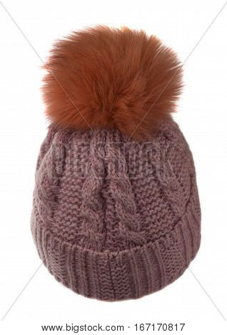 Women's Knitted Hat Isolated On White Background.hat With Pompon. Pink   Hat .