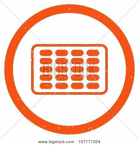 Blister grainy textured icon inside circle for overlay watermark stamps. Flat symbol with dust texture. Circled dotted vector orange ink rubber seal stamp with grunge design on a white background.