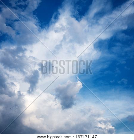 Blue light sky with hite fluffy clouds