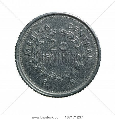 Metal Coin Twenty-five Centimes Costa Rica Isolated On White Background .avers Coin .