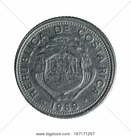 Metal Coin Twenty-five Centimes Costa Rica Isolated On White Background .reverse Coin .