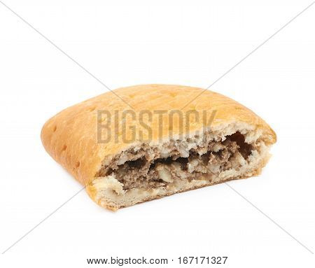 Half of a meat pie isolated over the white background