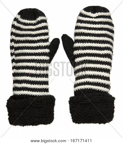 Mitten Isolated On White Background. Knitted Mittens. Mittens Top View.black And White Mittens .