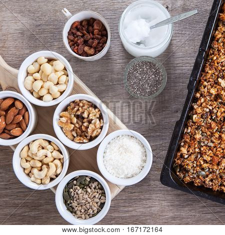 Grain free granola: mixed nuts seeds raisins coconut flakes chia and coconut oil
