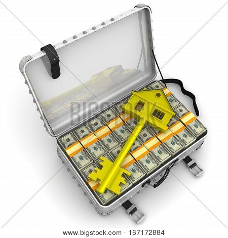 Money for the purchase of real estate. Golden key in the form of the house is lying on open suitcase filled with packs of US dollars. Isolated. 3D Illustration