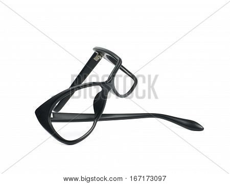 Heavily broken, bent and deformed pair of black plastic sight glasses isolated over the white background