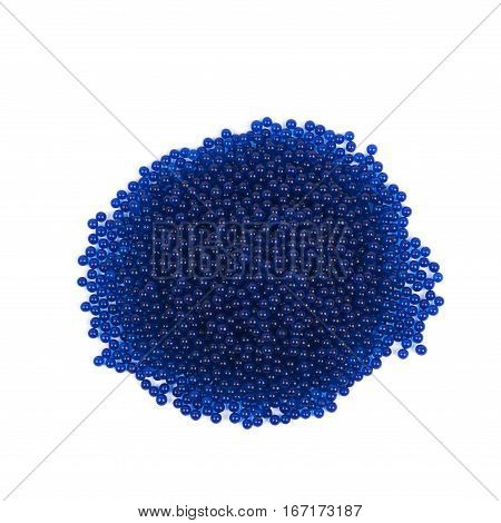 Pile of soil water blue beads isolated over the white background