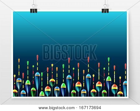 Fishing bobbers background. Floats for catching salmon tuna pike perch marlin bass trout or tarpon. Sea and ocean fishing vector wallpaper for web or printed products.