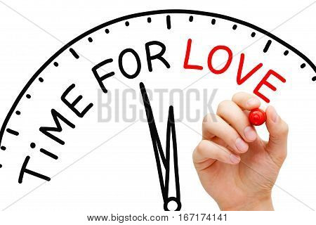 Hand writing Time for Love clock concept with red marker on transparent glass board.