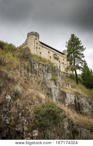 the castle in Puebla de Sanabria town on a cloudy day, Zamora, Spain