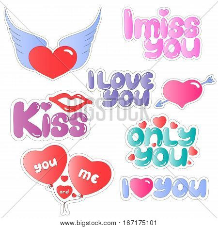 Set of stickers with lips, heart and speech for Valentines Day.