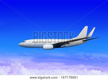 white passenger airplane in the heaven landing away