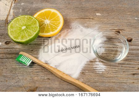 Baking Soda, Water, Lemon, Sponge And Toothbrush