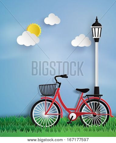 Bicycle in the garden with lamp post.paper art style.