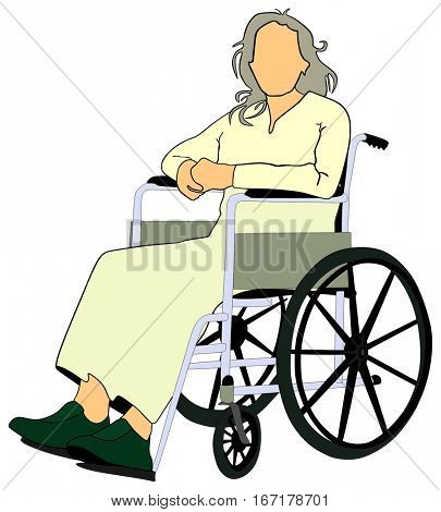 An old man or women using mobility aid setting on wheelchair holding both hands together conceptual healthcare image support elderly people concept