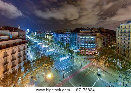 Passeig De Gracia At Night - Barcelona, Spain