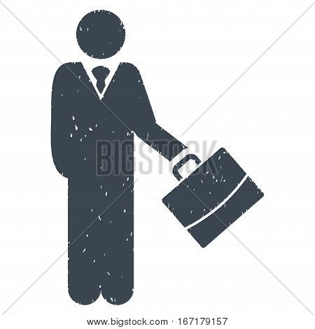 Standing Businessman grainy textured smooth blue icon for overlay watermark stamps. Flat symbol with scratched texture. Dotted vector ink rubber seal stamp with grunge design on a white background.