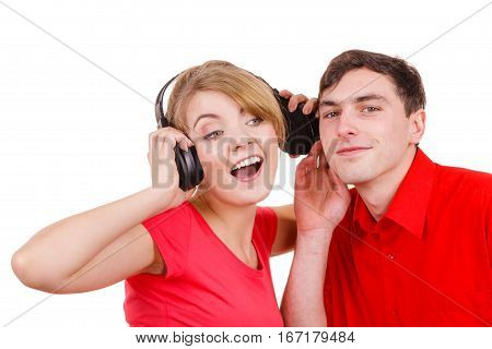 Couple Two Friends With Headphones Listening To Music