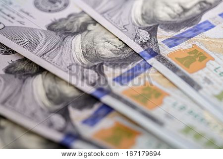 Background of american hundred dollar bills.  close up view of cash  money
