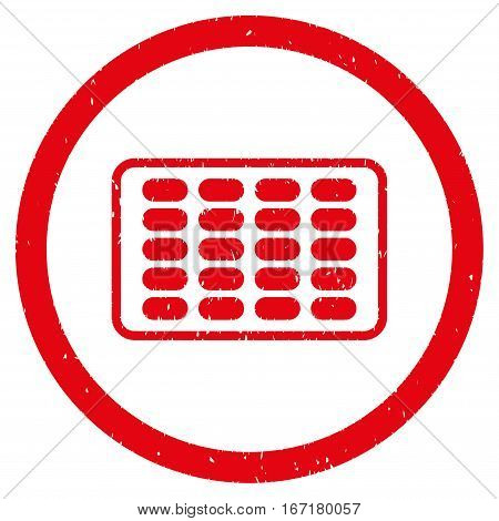 Blister grainy textured icon inside circle for overlay watermark stamps. Flat symbol with unclean texture. Circled dotted vector red ink rubber seal stamp with grunge design on a white background.