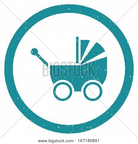 Baby Carriage grainy textured icon inside circle for overlay watermark stamps. Flat symbol with dust texture.