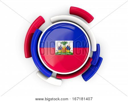 Round Flag Of Haiti With Color Pattern
