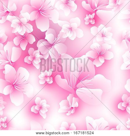 cherry blossom festival Hanami - seamless background with flowers of Sakura