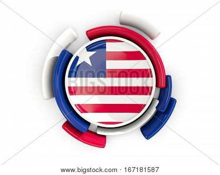 Round Flag Of Liberia With Color Pattern