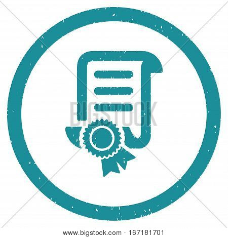 Certified Scroll Document grainy textured icon inside circle for overlay watermark stamps. Flat symbol with dirty texture.