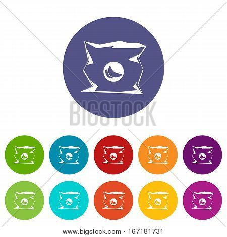 Crumpled bag of chips set icons in different colors isolated on white background
