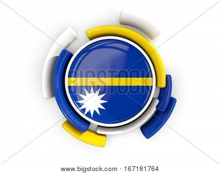 Round Flag Of Nauru With Color Pattern