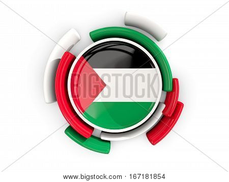 Round Flag Of Palestinian Territory With Color Pattern