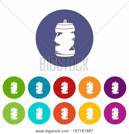 Crumpled aluminum cans set icons in different colors isolated on white background
