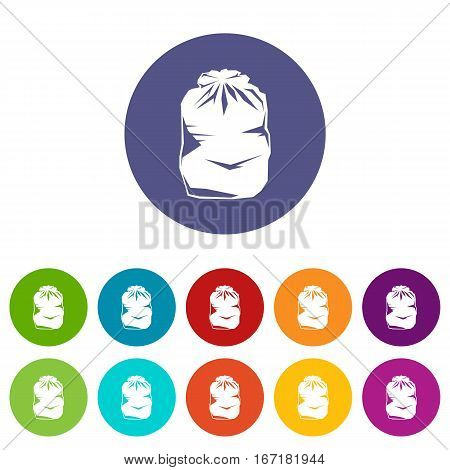 Black trash bag set icons in different colors isolated on white background