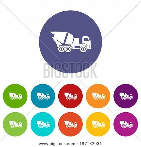 Building mixer for concrete set icons in different colors isolated on white background