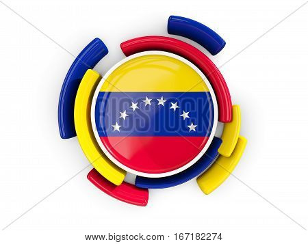 Round Flag Of Venezuela With Color Pattern