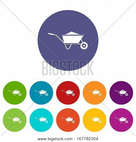 Wheelbarrow with sand set icons in different colors isolated on white background