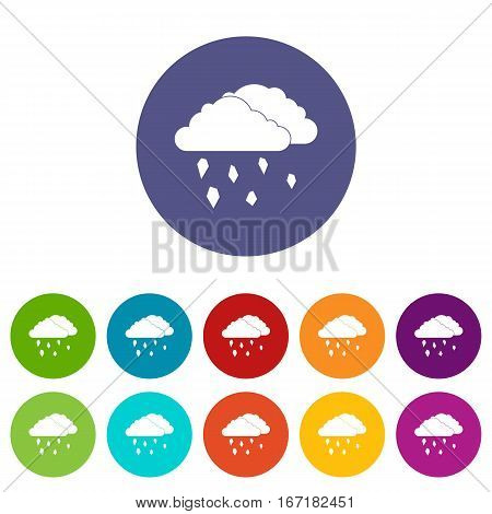 Clouds and hail set icons in different colors isolated on white background