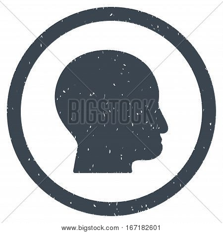 Bald Head grainy textured icon inside circle for overlay watermark stamps. Flat symbol with dirty texture.