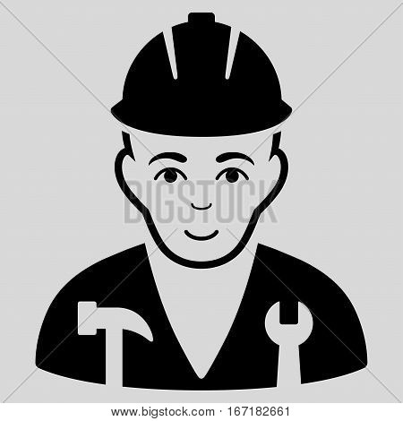 Serviceman vector icon. Flat black symbol. Pictogram is isolated on a light gray background. Designed for web and software interfaces.