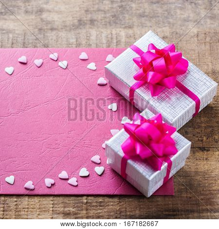Valentines Day Holiday Love Gift Card And Box Background