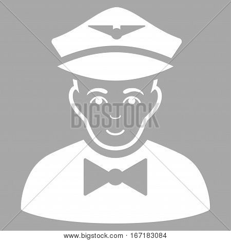 Airline Steward vector icon. Flat white symbol. Pictogram is isolated on a silver background. Designed for web and software interfaces.