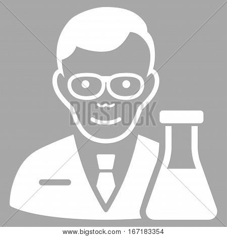 Chemist vector icon. Flat white symbol. Pictogram is isolated on a silver background. Designed for web and software interfaces.