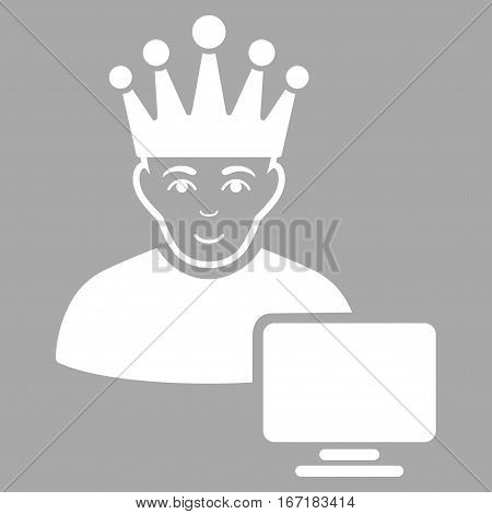 Computer Moderator vector icon. Flat white symbol. Pictogram is isolated on a silver background. Designed for web and software interfaces.