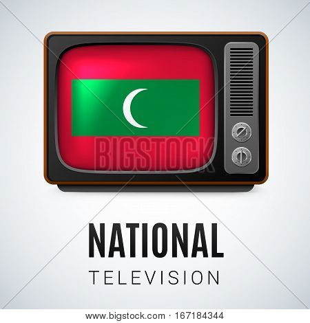 Vintage TV and Flag of Maldives as Symbol National Television. Button with Maldivian flag