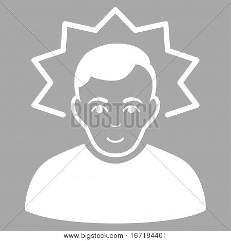 Inventor vector icon. Flat white symbol. Pictogram is isolated on a silver background. Designed for web and software interfaces.