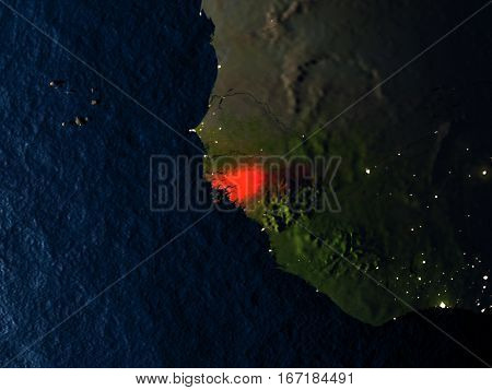 Guinea-bissau In Red From Space At Night