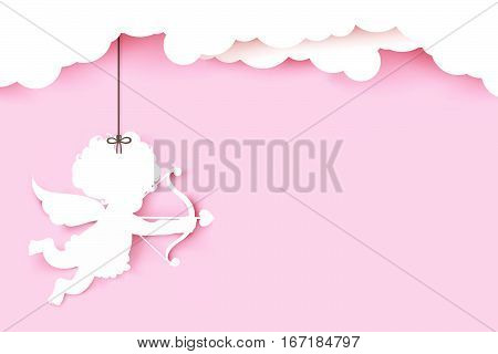 Cupid holding arrow with shadow on pink background with copyspace vector illustration eps 10