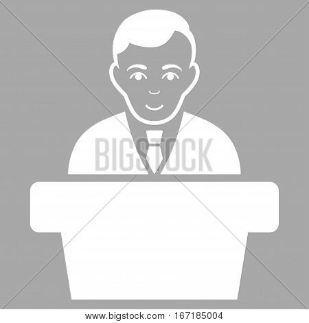 Politician vector icon. Flat white symbol. Pictogram is isolated on a silver background. Designed for web and software interfaces.