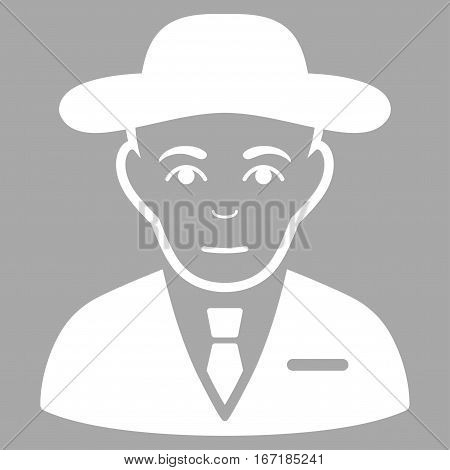 Secret Service Agent vector icon. Flat white symbol. Pictogram is isolated on a silver background. Designed for web and software interfaces.